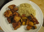 Five Spice Fried Chicken with Quinoa and Roasted Butternut Squash
